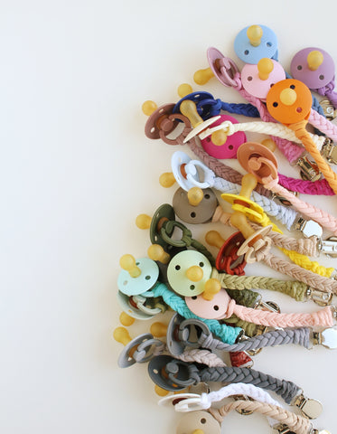braided bibs pacifier clip