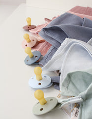 Organic baby muslin comforter and BIBS pacifier clip