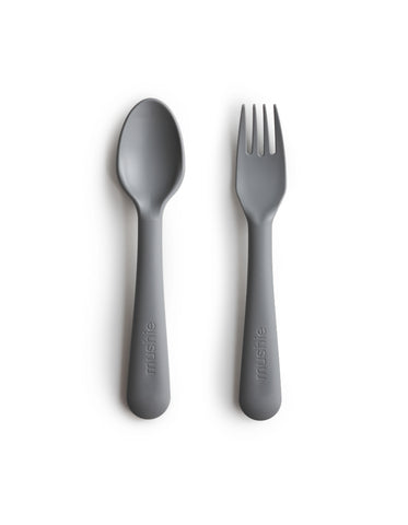 mushie fork and spoon set smoke