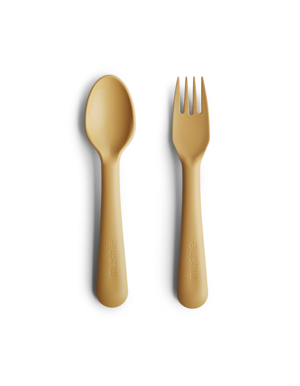 mushie fork and spoon set mustard