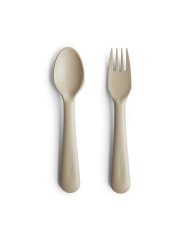 mushie fork and spoon set vanilla