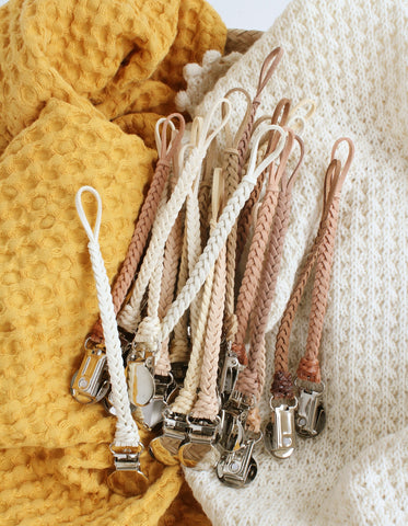 braided suede pacifier clip natural