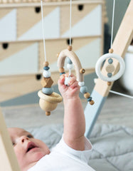 Minimalist baby activity toys white