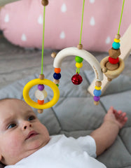 wooden baby gym bright rainbow
