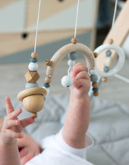 Scandinavian baby gym toys white