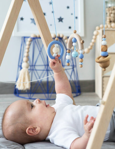 wooden baby gym blue