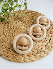 wooden Montessori teething rattle ORI
