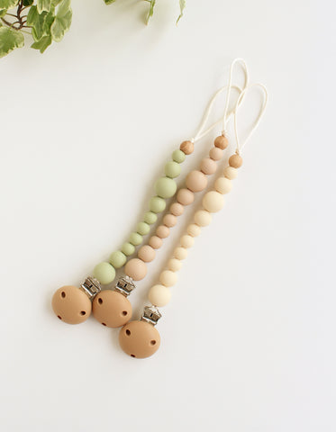 silicone pacifier clip BIBS pacifier ivory vanilla sage