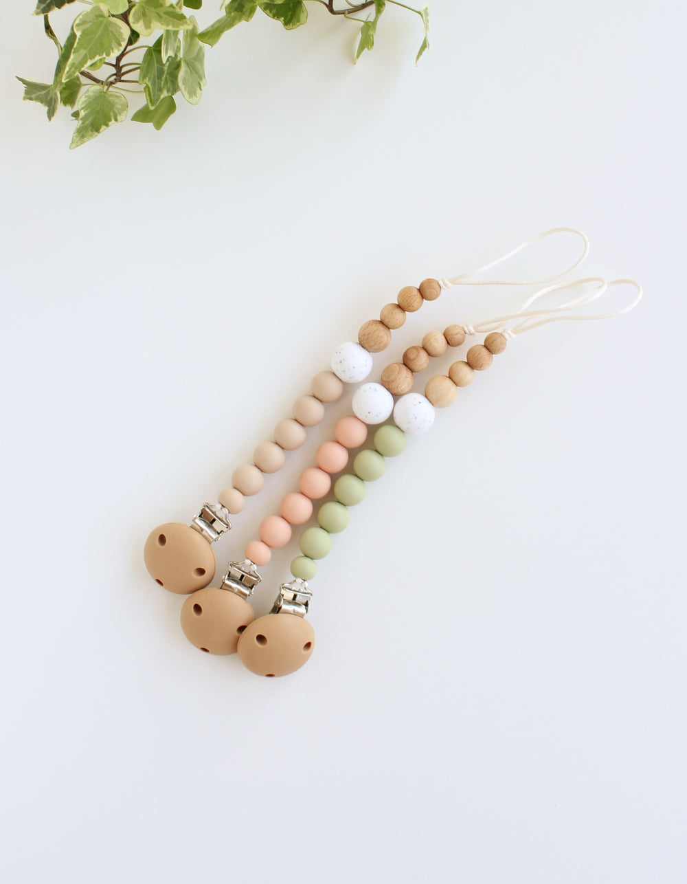 silicone and wood pacifier clip for BIBS soother vanilla peach sage white