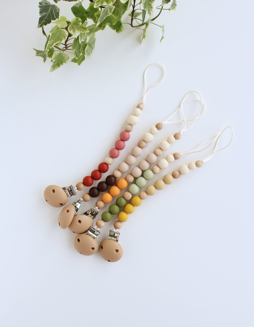 silicone and wood pacifier clips for BIBS