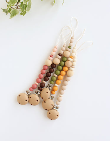 silicone wood pacifier clip for baby