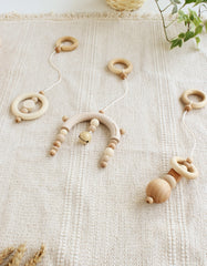 Scandinavian baby gym toys oatmeal