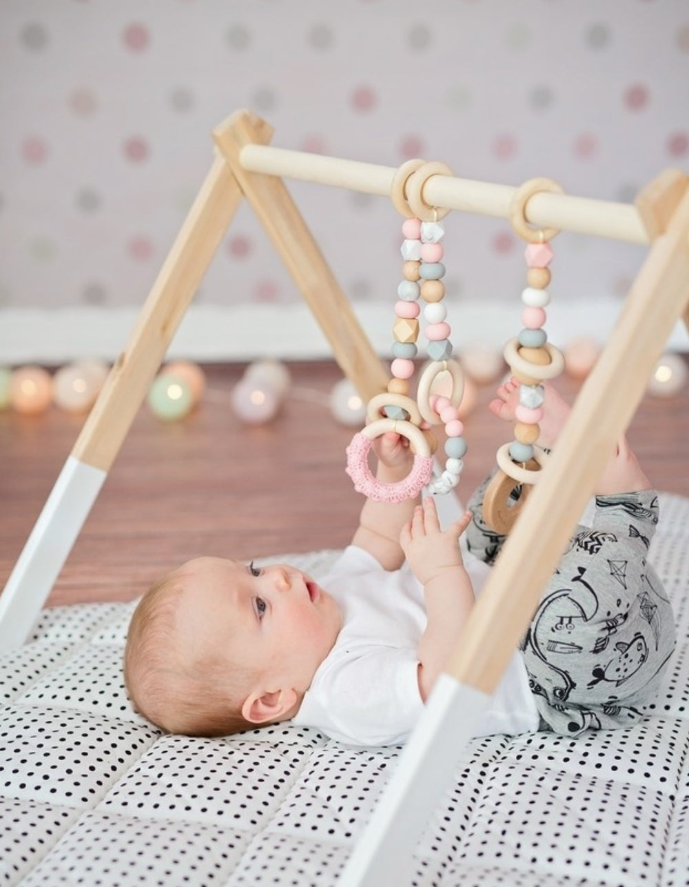 wooden gym toys set for a girl nursery