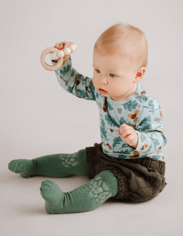 baby crawling tights green forest tales