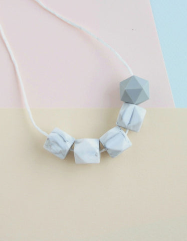 mommy necklace for breastfeeding or teething baby marble