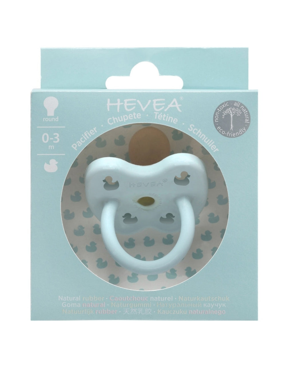 HEVEA natural rubber orthodontic pacifier 0-3 months baby blue color