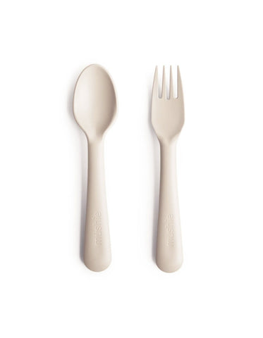 mushie fork and spoon set ivory