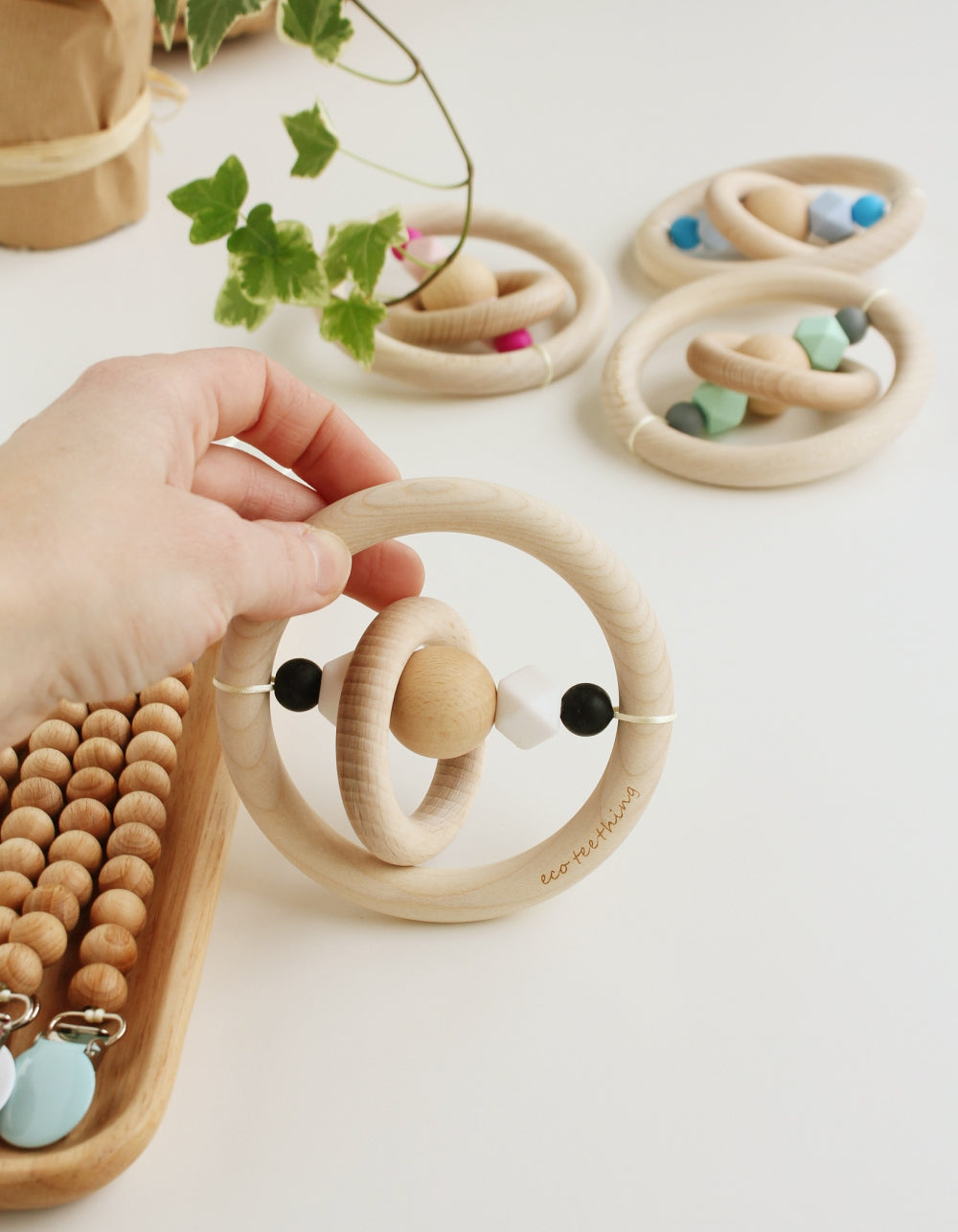 Montessori wooden teether