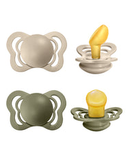 BIBS couture anatomical pacifier set vanilla & olive