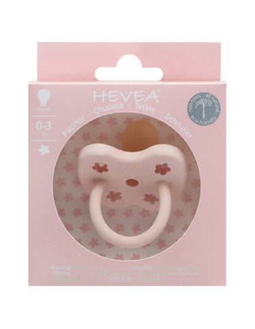 Natural HEVEA round pacifier 0-3 month powder pink