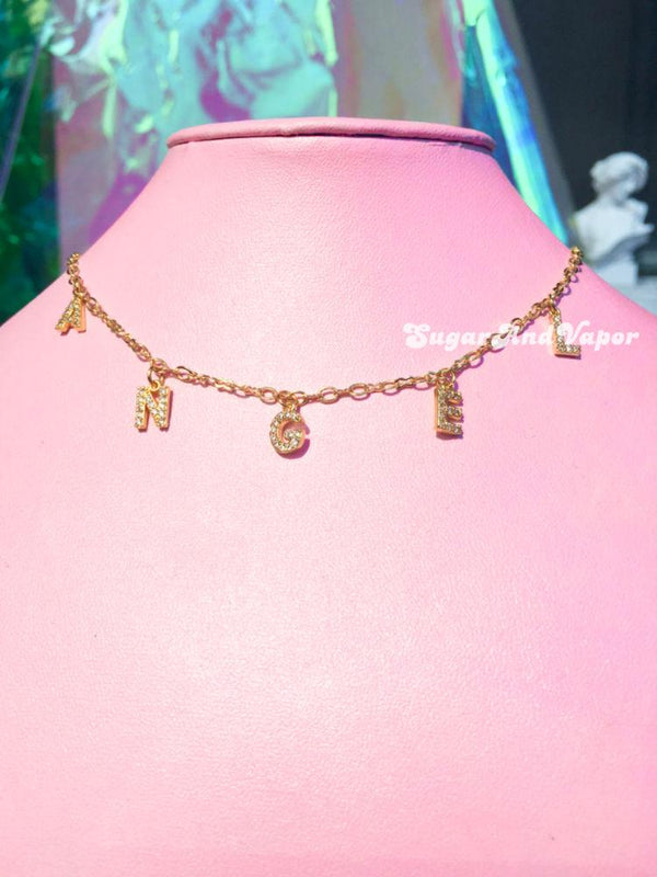 18k Gold ANGEL Crystal Letters Necklace-NECKLACES-SugarAndVapor