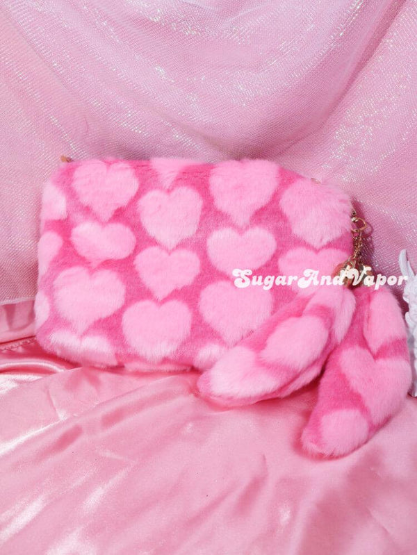 Agnes Pink Heart/Marble Furry Shoulder Bag-BAGS-SugarAndVapor