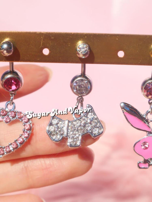 Bling Cute Puppy Belly Ring-Belly Ring-SugarAndVapor