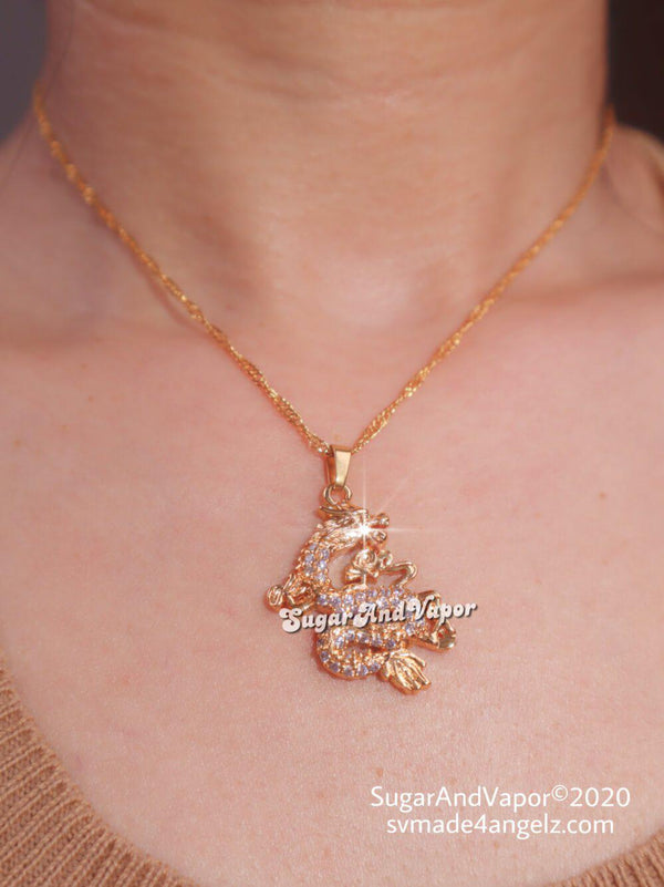 Bling Dragon Charm Stainless Steel Necklace-NECKLACES-SugarAndVapor