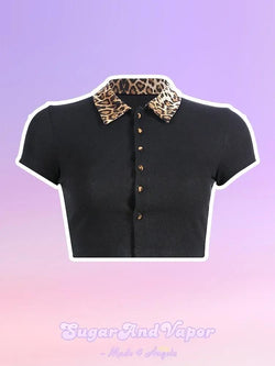Caroline Leopard Collar Crop Top-TOPS-SugarAndVapor