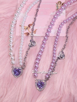 Cecilia Purple Crystals Gem Pearls Choker-NECKLACES-SugarAndVapor