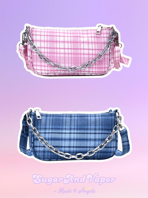 CELIA Vintage Plaid Shoulder Bag-BAGS-SugarAndVapor