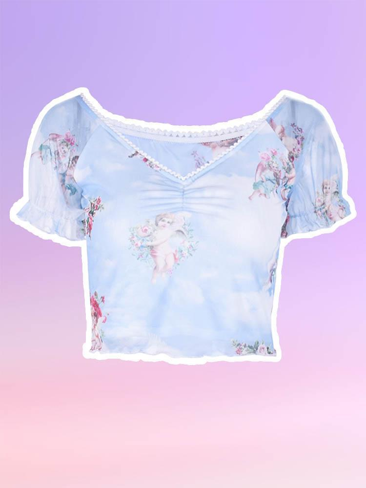 Cherubs Lettuce hem Crop Top-TOPS-SugarAndVapor