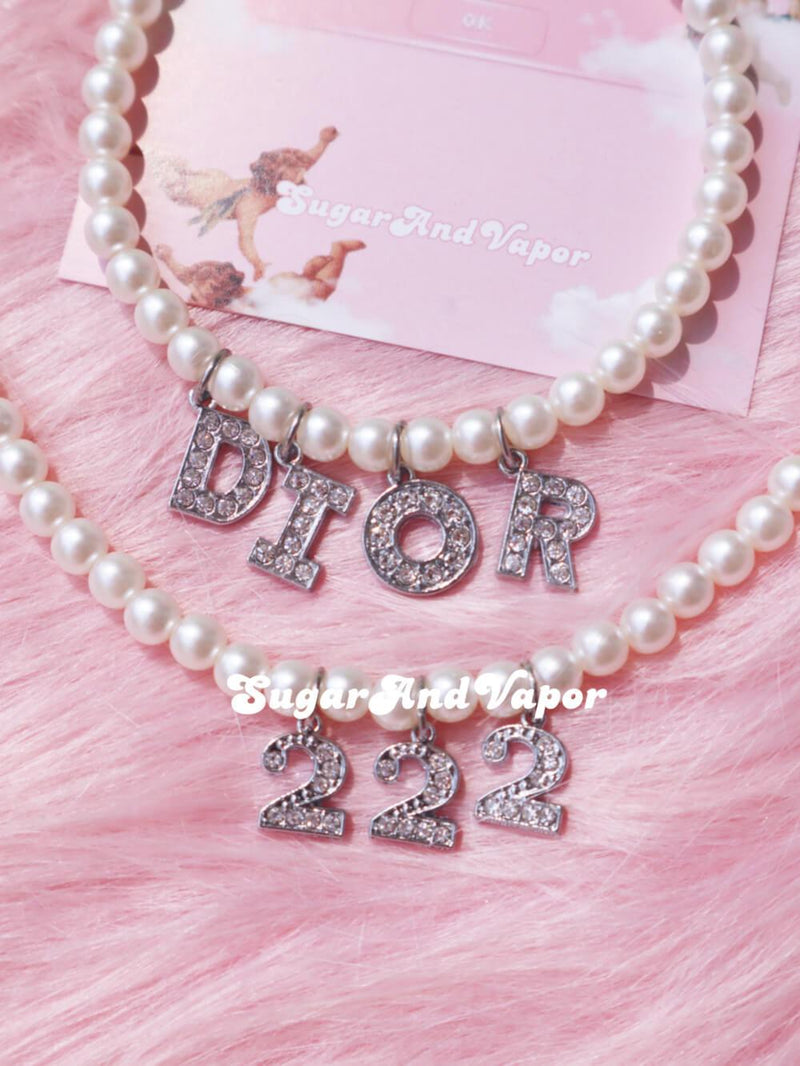 Custom Silver Bling Letters Pearls Choker-NECKLACES-SugarAndVapor