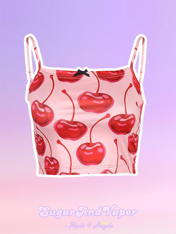 Cute Cherry Print Crop Top-TOPS-SugarAndVapor