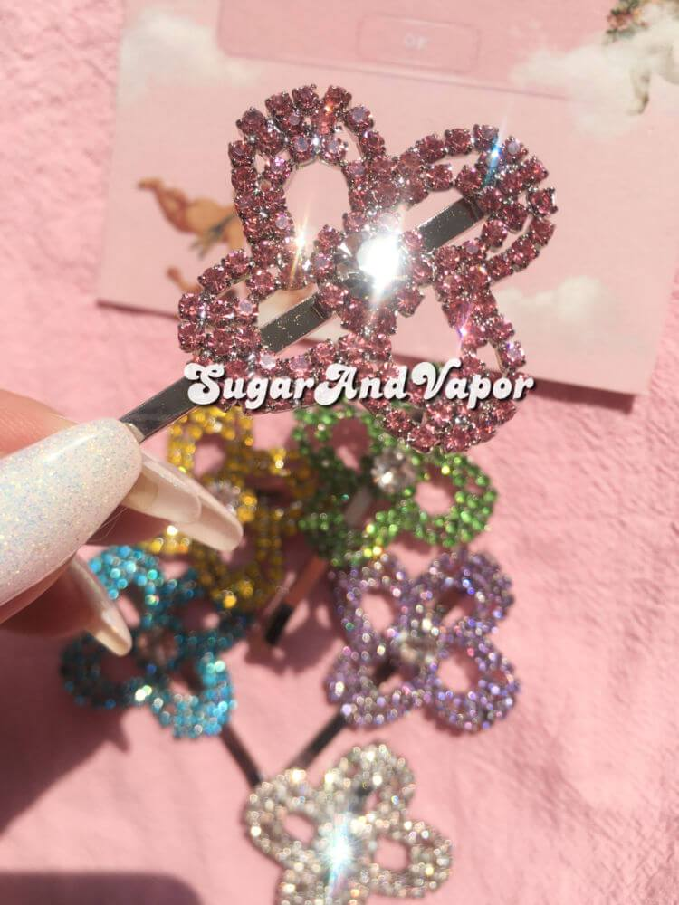 Daisy Floral Rhinestones Hair Pin-Hair Accessories-SugarAndVapor