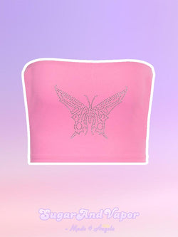 ESME Bling Butterfly Crop Top-TOPS-SugarAndVapor