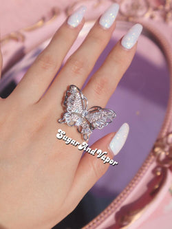 Evelyn Sparkle Large Butterfly Ring-Rings-SugarAndVapor