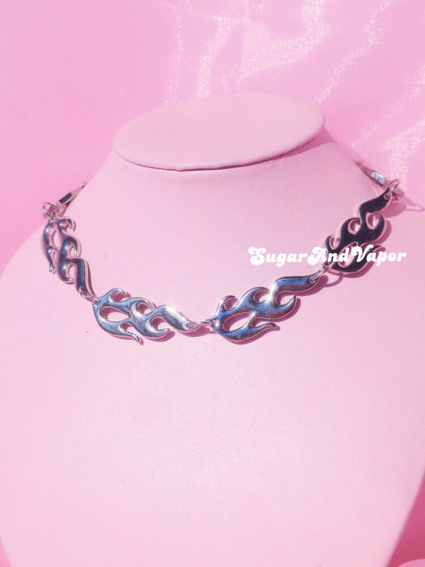 Grunge Flames Stainless Steel Choker-NECKLACES-SugarAndVapor