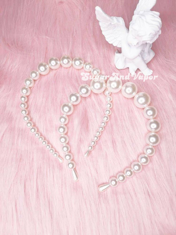 Huge Pearl Crown Bridal Headband-Hair Accessories-SugarAndVapor