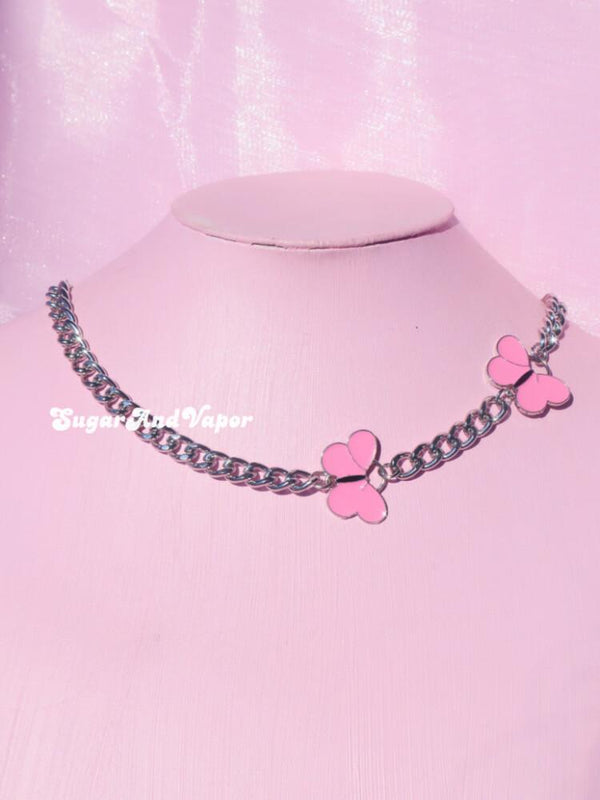 Ianthe Pink Butterfly Choker-NECKLACES-SugarAndVapor