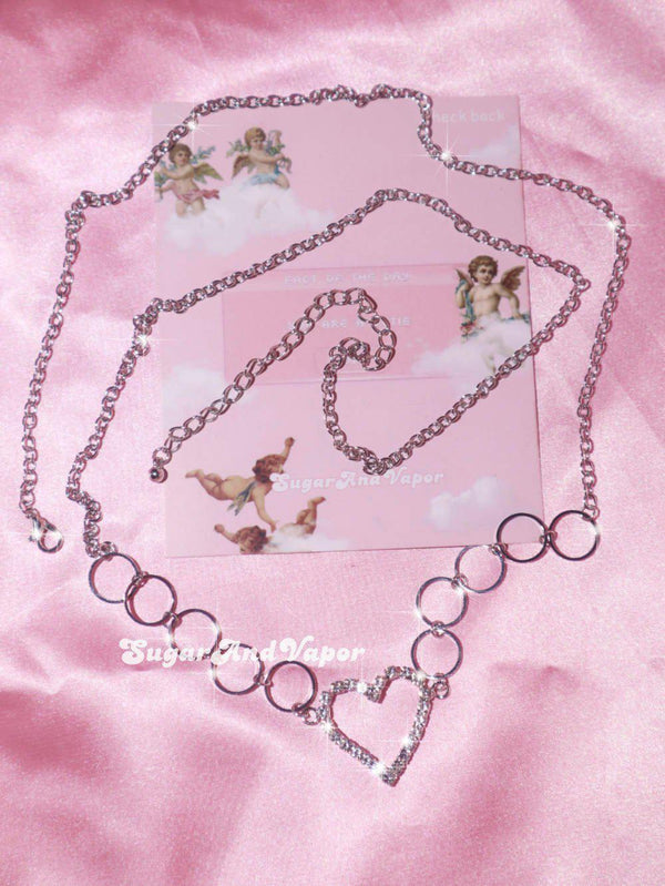 Jenny Y2K Bling Heart Hoops Belly Chain-Belly Chains-SugarAndVapor