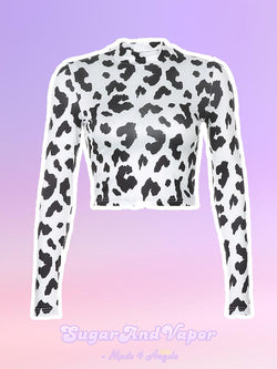 KAGA Cow Pattern Long Sleeve Crop Top-TOPS-SugarAndVapor