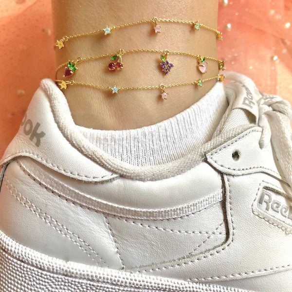 KATY Fruits Vibes Multi Bling Charms Anklet-BRACELET & ANKLET-SugarAndVapor