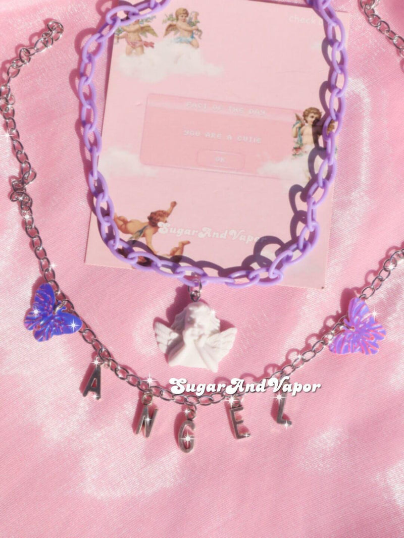 Lilac Baby Angel Butterfly Heavenly Necklaces-NECKLACES-SugarAndVapor