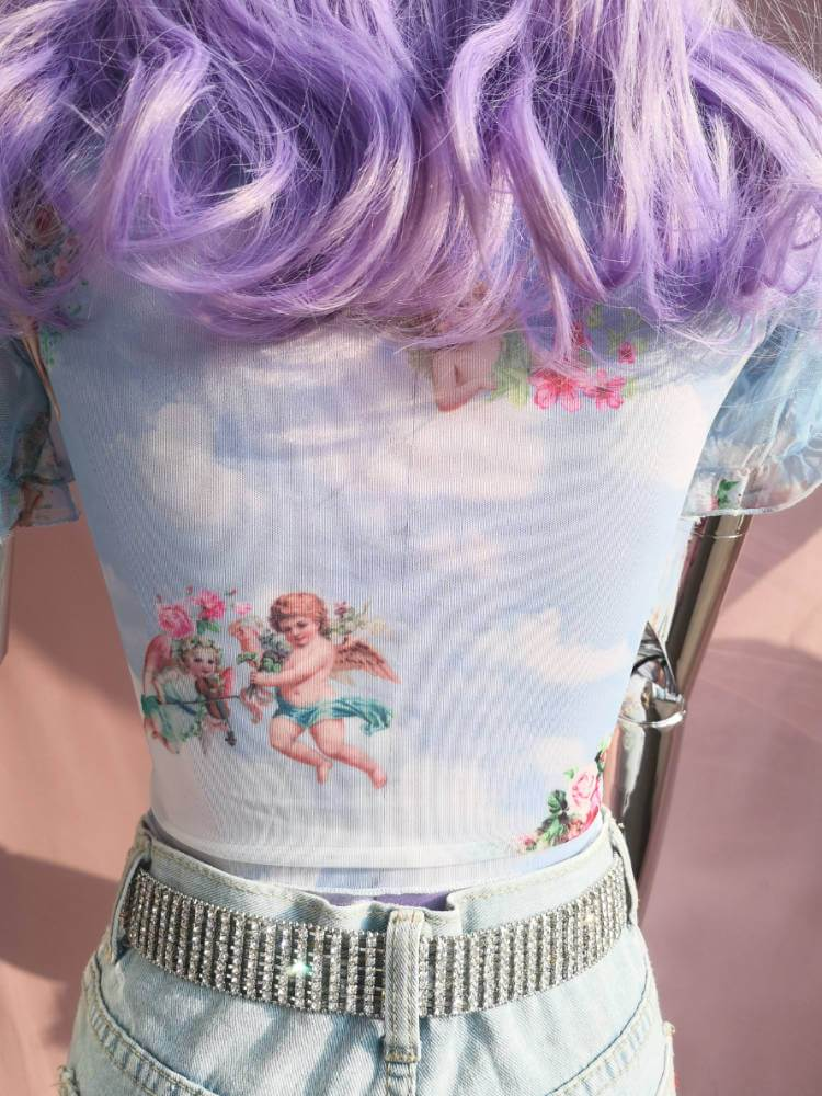 Lori Baby Blue Cherub Crop Top-TOPS-SugarAndVapor