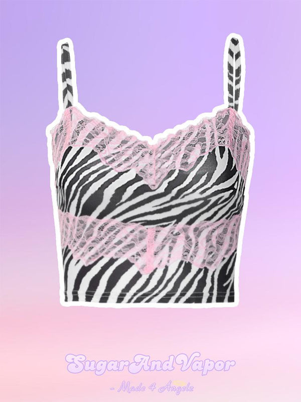 Maddie Pink Lace Zebra Strappy Crop Top-TOPS-SugarAndVapor
