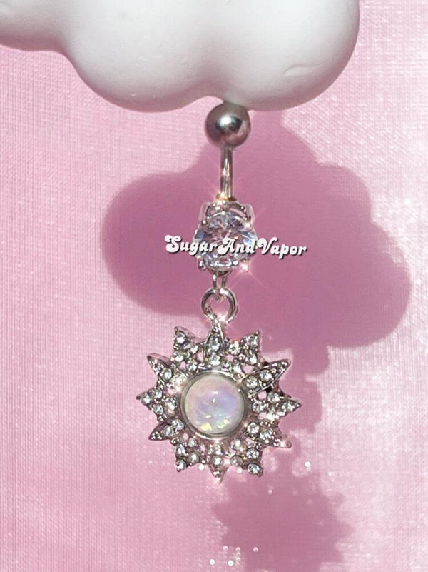 Opal Bling Sunflower Belly Button Ring-Belly Ring-SugarAndVapor