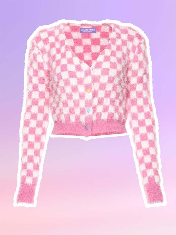 Pink Checkered Daydream Furry Crop Cardigan-Cardigans-SugarAndVapor