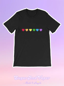 Rainbow Love Graphic Casual T-shirt-TOPS-SugarAndVapor