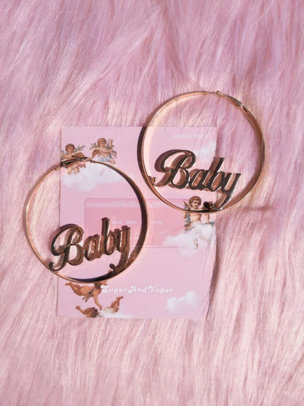 Retro BABY Letters Gold Hoop Earrings-EARRINGS-SugarAndVapor